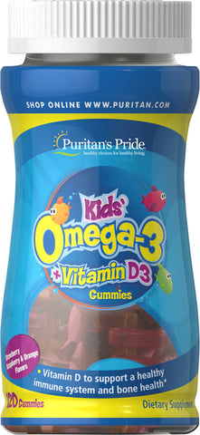 Puritan's Pride Children's Omega 3, DHA & D3 Gummies 120 Gummies / Item #031017