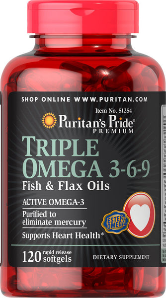 Puritan 39 s pride triple omega 3 6 9 fish flax oils 120 for Flaxseed oil or fish oil