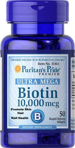 Puritan's Pride Biotin 10,000 mcg / 50 Softgels / Item #051463 - Puritan's Pride Singapore