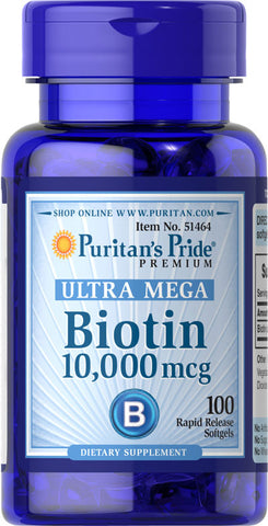 Puritan's Pride Biotin 10,000 mcg / 100 Softgels / Item #051464