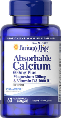 Puritan's Pride Absorbable Calcium 600mg plus Magnesium 300mg & Vitamin D 1000iu / 60 Softgels / Item #053580 - Puritan's Pride Singapore