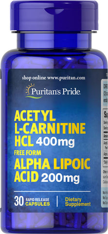 Puritan's Pride Acetyl L-Carnitine 400 mg with Alpha Lipoic Acid 200 mg / 30 Capsules / Item #066070 - Puritan's Pride Singapore