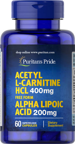 Puritan's Pride Acetyl L-Carnitine Free Form 400 mg with Alpha Lipoic Acid 200 mg / 60 Capsules / Item #066087