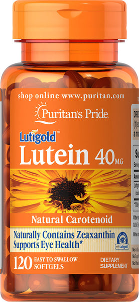 Puritan's Pride Lutein 40 mg with Zeaxanthin 40 mg / 120 Softgels / Item #070926