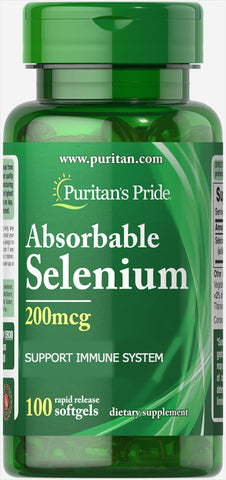 Puritan's Pride Absorbable Selenium 200 mcg / 100 Softgels / Item #015930