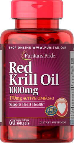 Puritan's Pride Red Krill Oil 1000 mg (170 mg Active Omega-3) 1000 mg / 60 Softgels / Item #029545 - Puritan's Pride Singapore