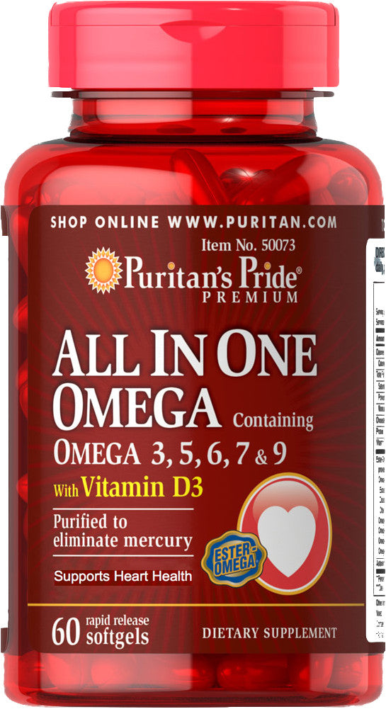 Puritan's Pride All In One Omega 3, 5, 6, 7 & 9 with Vitamin D3 60 Softgels  / Item #050073