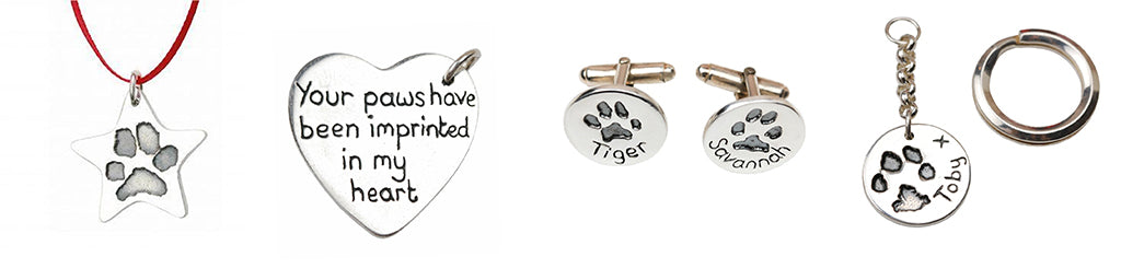 Personalised silver paw print jewellery