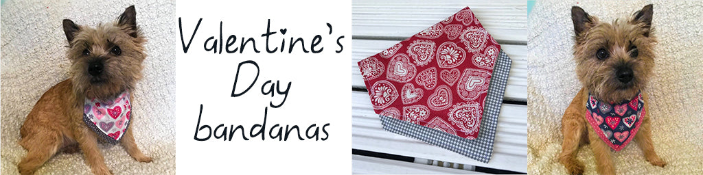Valentine's Day bandanas from Cairn Terrier Collectibles