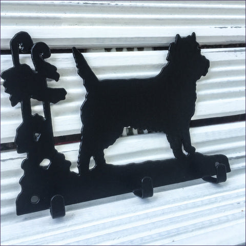 Three hook Cairn Terrier key rack