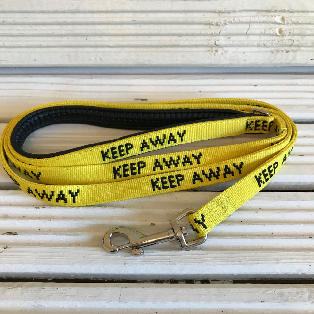 Keep Away yellow anxious dog lead (medium) - Cairn Terrier Collectibles