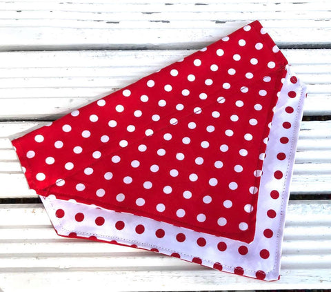 Polka Dotty Big Dog Bandana - Slip-on, double layer (Large)