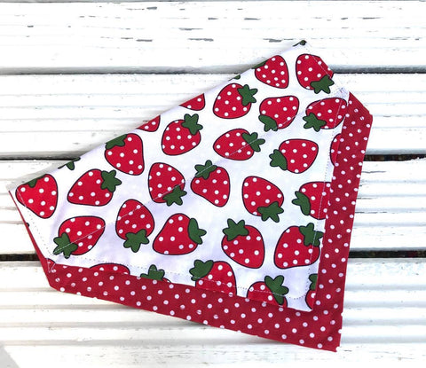 Strawberry Fields Big Dog Bandana - Slip-on, double layer (Large)
