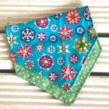 Blue Snowflake Christmas Bandana - Slip-on, double layer (Medium) - Cairn Terrier Collectibles