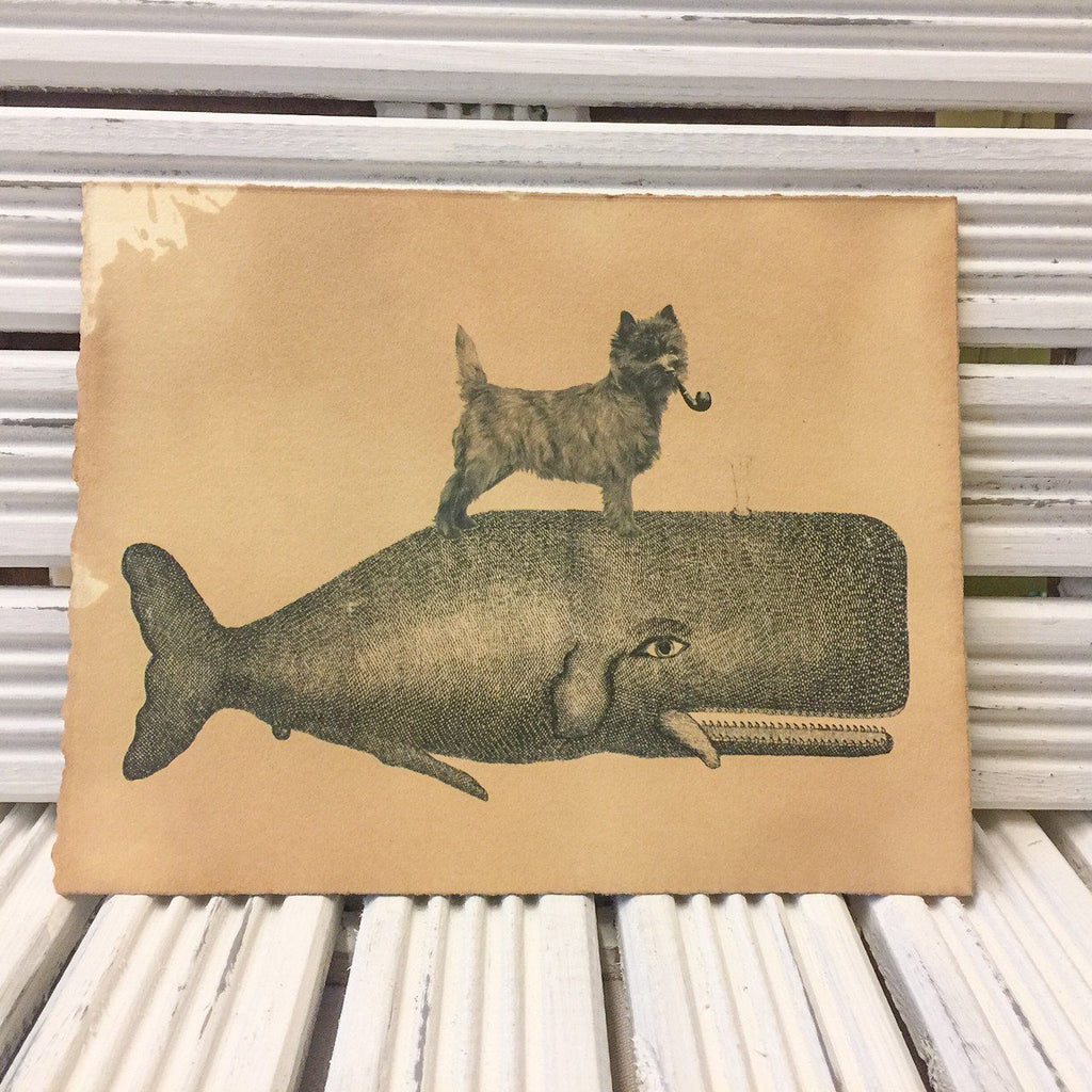 Cairn Terrier riding on a whale print