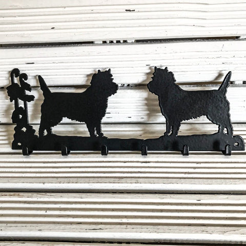 Six hook Cairn Terrier key rack