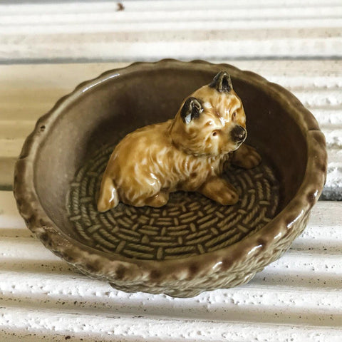 Wade Cairn Terrier in a basket vintage ornament