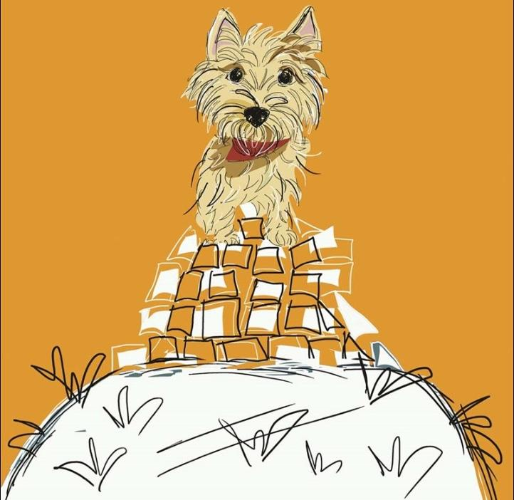 Cairn on a Cairn Greetings card (Jo Scott) - Cairn Terrier Collectibles