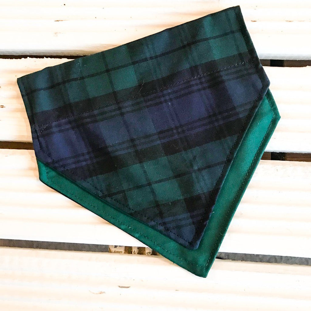 Tartan Terrierist Bandana (Blue and Green) - Slip-on, double layer (Medium) - Cairn Terrier Collectibles