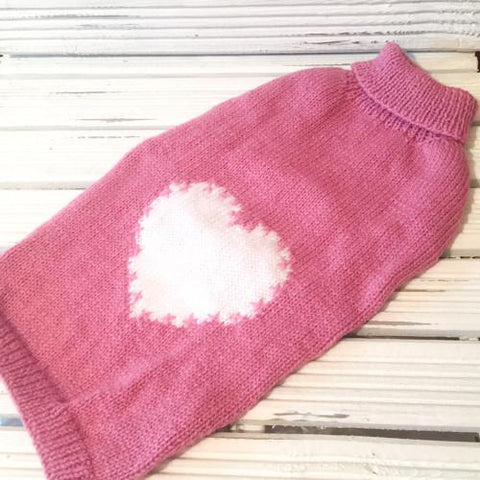 Dog Coat Pink Love Heart Design (Wool)