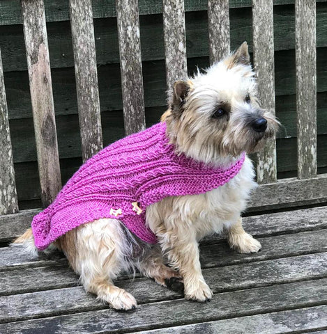 Dog Coat Sparkly Purple Cabled Design (Wool)