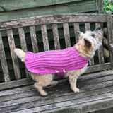 Dog Coat Sparkly Purple Cabled Design (Wool) - Cairn Terrier Collectibles