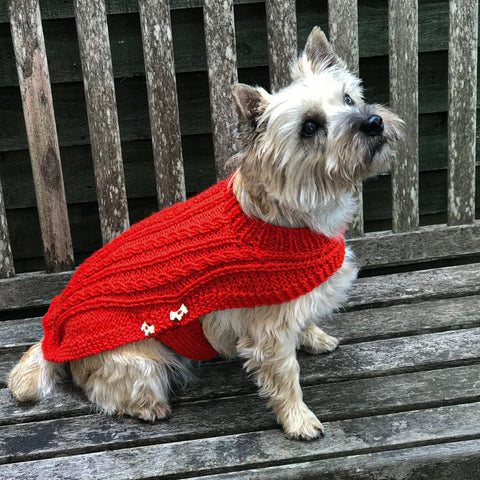 Dog Coat Red Cabled Design (Wool)