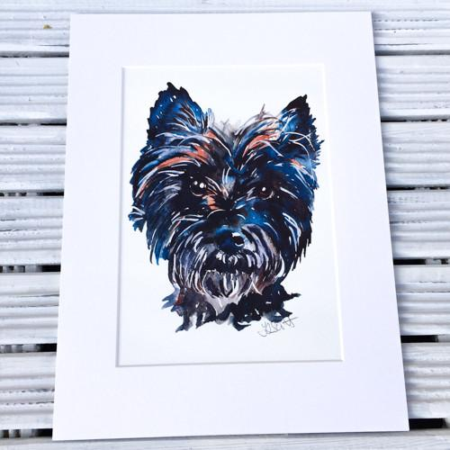 Dark Cairn Terrier art print (Jo Scott) - Cairn Terrier Collectibles