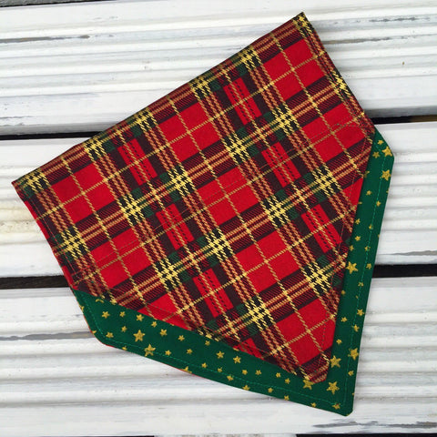 Tartan Terrierist Bandana (Green) - Slip-on, double layer (Medium)