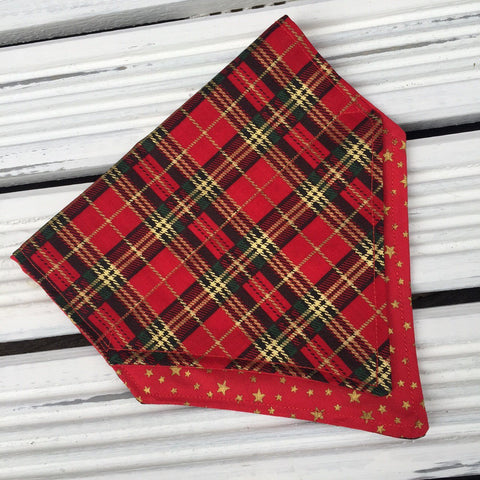 Tartan Terrierist Bandana (Red) - Slip-on, double layer (Medium)