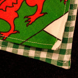Welsh Bandana with dragon design slip-on double layer with green check (Medium) - Cairn Terrier Collectibles - 6