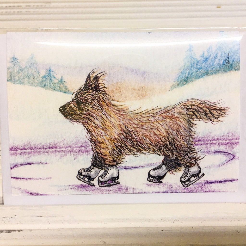 He enjoyed the wind Greetings Card (Susan Alison) - Cairn Terrier Collectibles