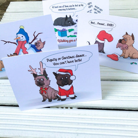 Exclusive Cairn Terrier Christmas Greetings Card Pack  - 4 cards