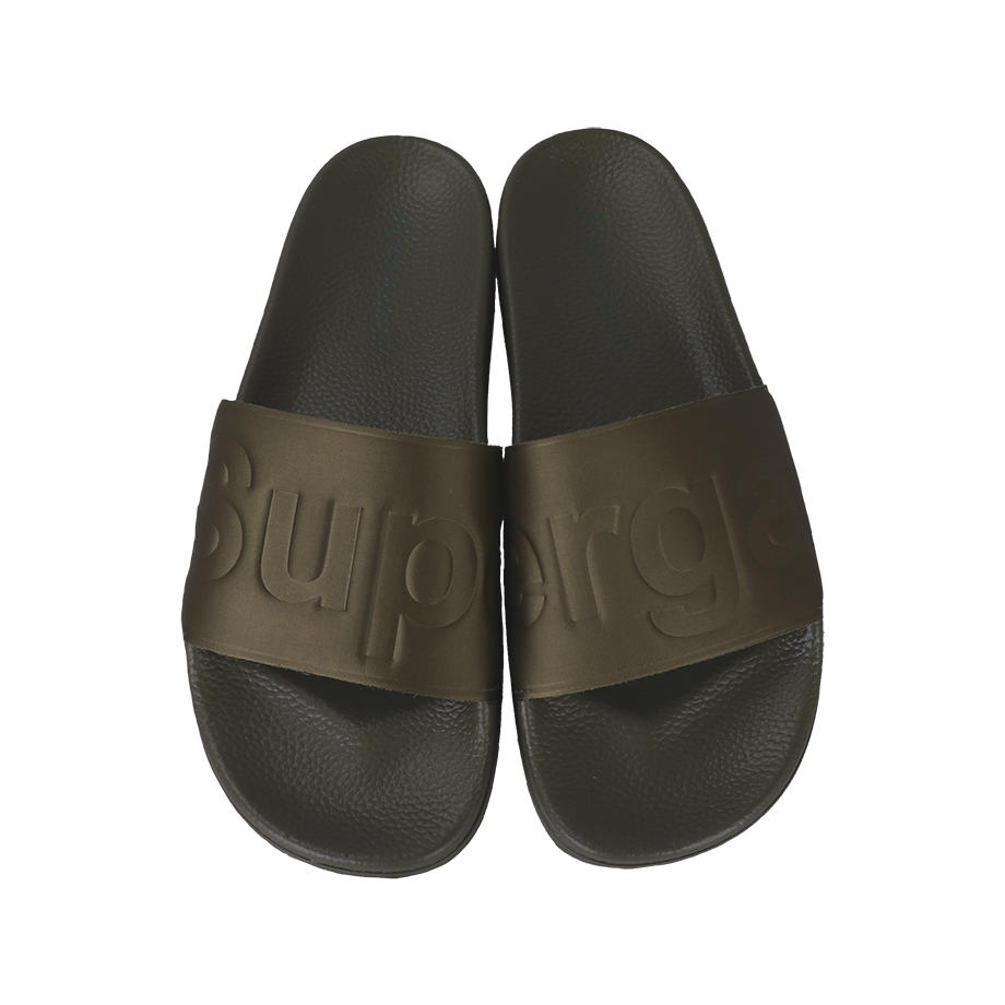 Superga Satin Slides - Green Military