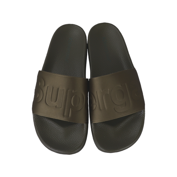 Superga Satin Slides <br> Green Military