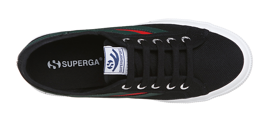 Superga 2750 Swallow Tail <br> Black-Evergreen-Red