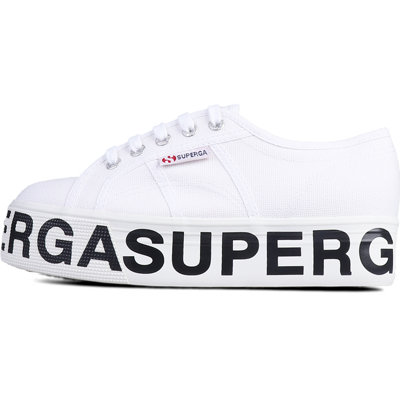 Superga Flatform Outsole Lettering <br> White