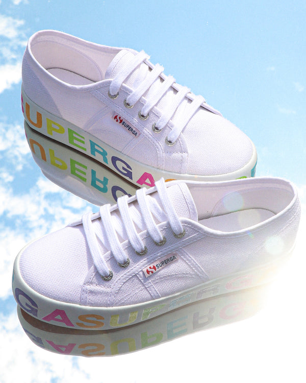 Superga 2790 Glitter Lettering <br> White Multicolors