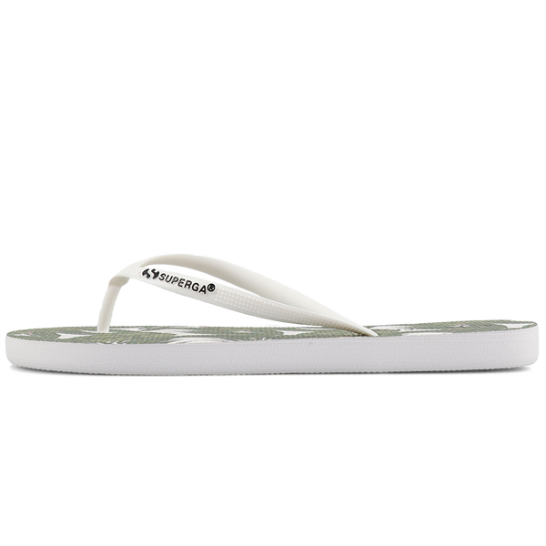 Superga 4121 Fantasy Slim Flip Flop <br> Palms White