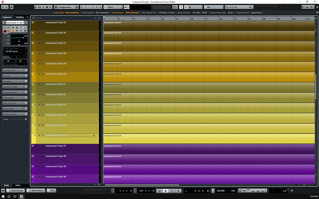 Cubase Template | Custom Colour Pallet