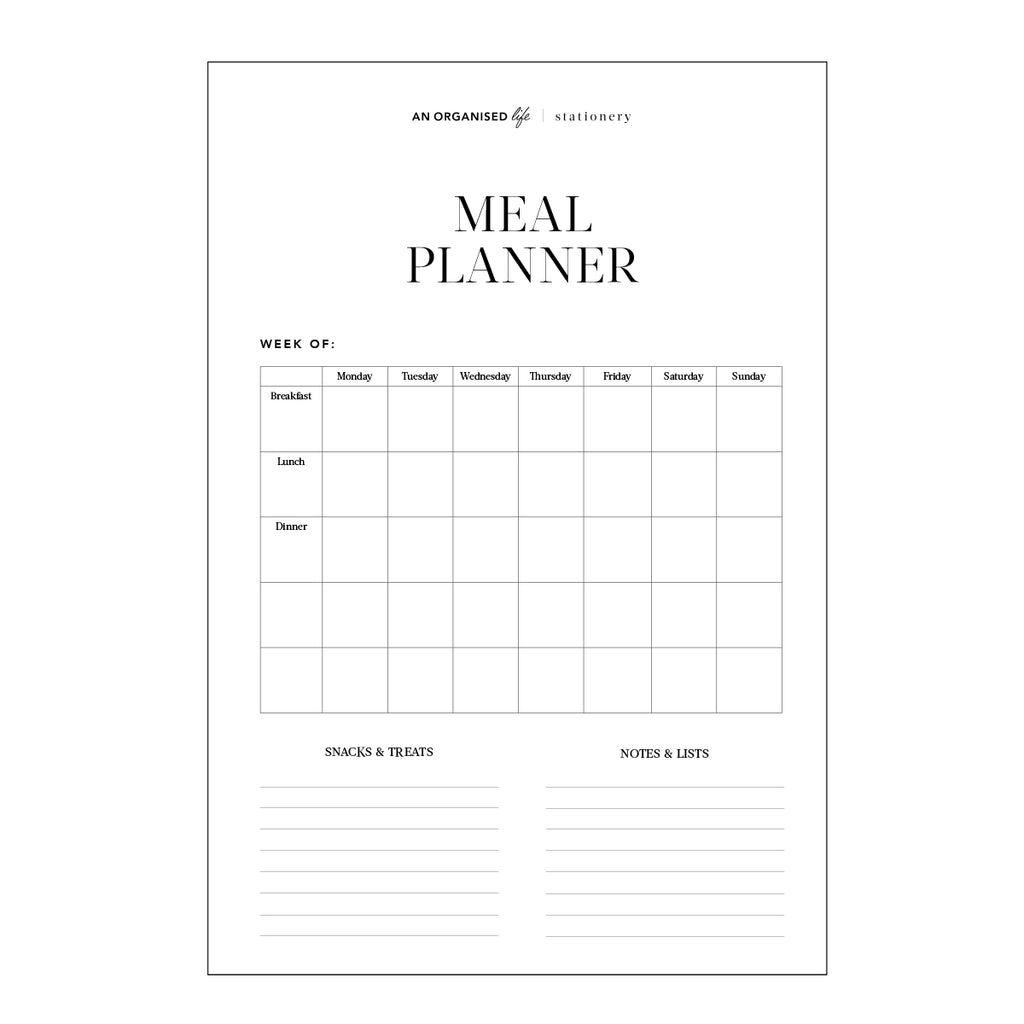 Meal Planner & Weekly Shopping List Downloadable