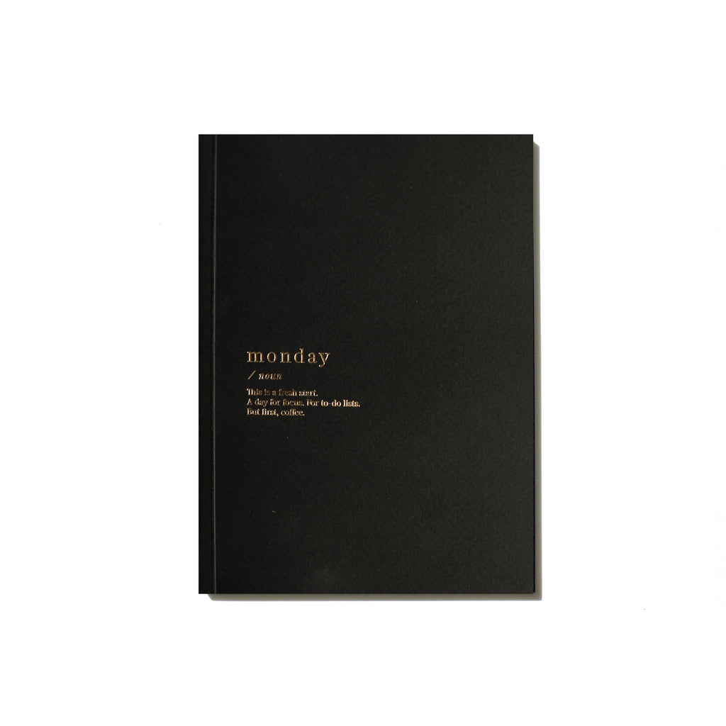 Monday Lined Notebook - Black