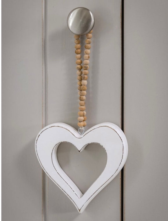 Heart with Wooden Bead Hoop