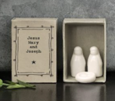 East of India | Matchbox Jesus Mary and Joseph in Porcelain