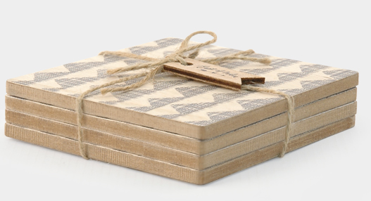 East of India | Natural Geometric coasters set of 4