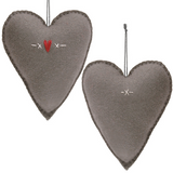 East of India | Embroidered Large Grey Felt Heart