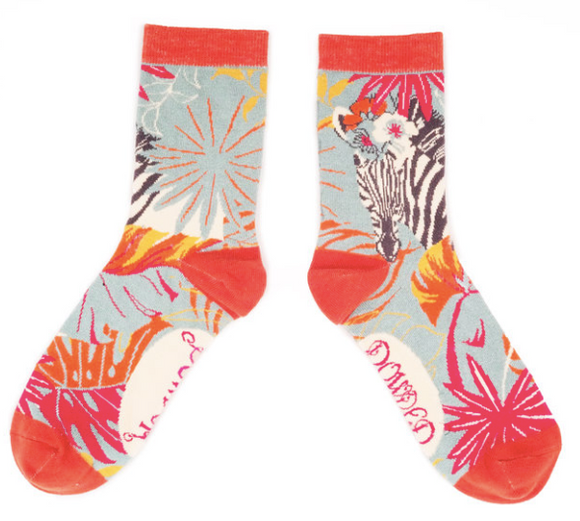 Powder | Floral Zebra Ladies Ankle Socks