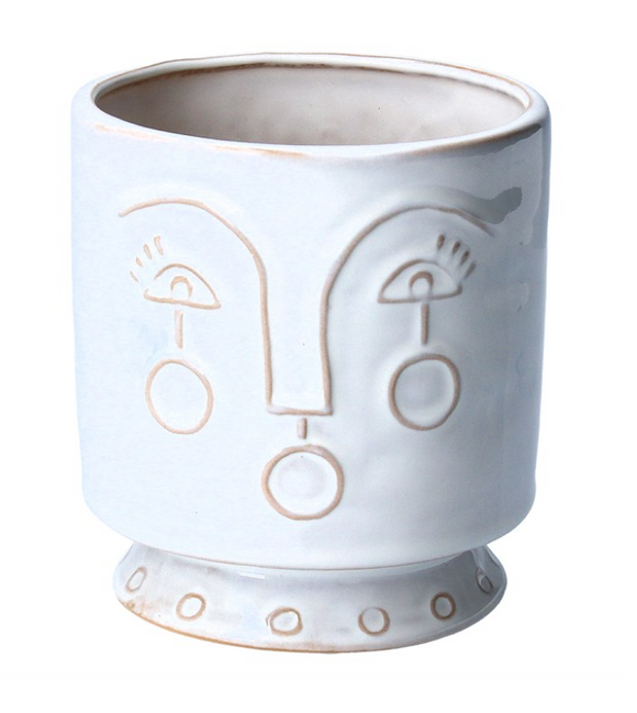 Gisela Graham | White Face Ceramic Pot Cover 12cm
