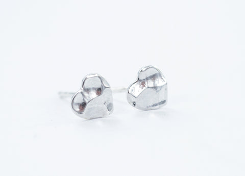 Smile Jewellery | Hammered Heart Silver Earrings