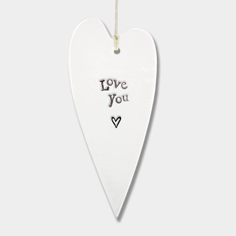East Of India | Love You Porcelain Heart Ornament